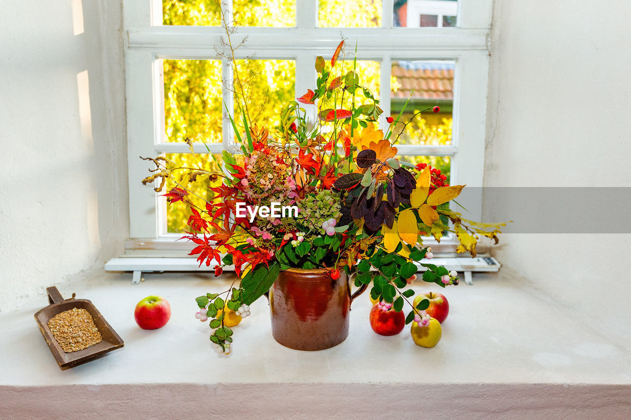 flower, flowering plant, freshness, plant, no people, indoors, window, yellow, nature, vase, food, potted plant, day, red, fragility, table, vulnerability, food and drink, multi colored, still life, flower head, flower pot