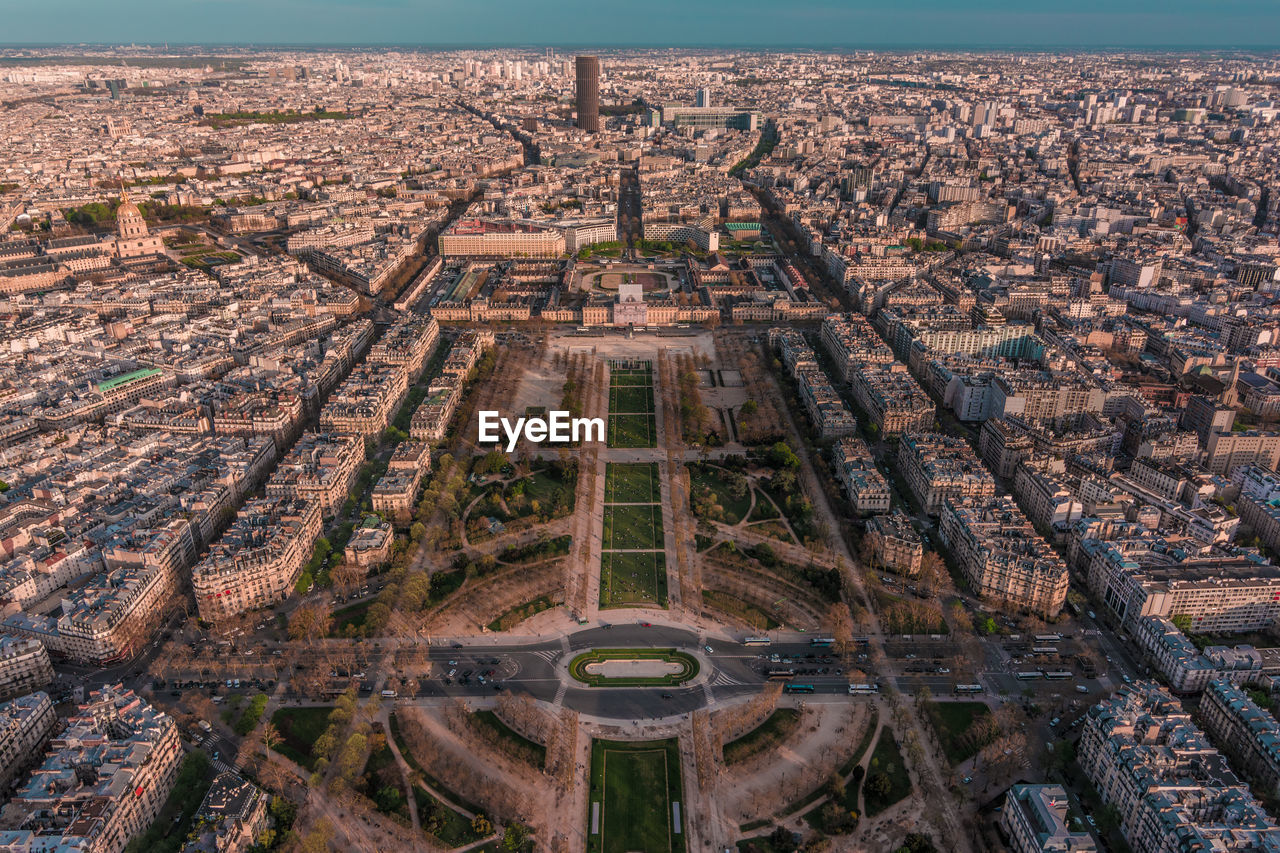 Aerial view of cityscape seen from eiffel tower