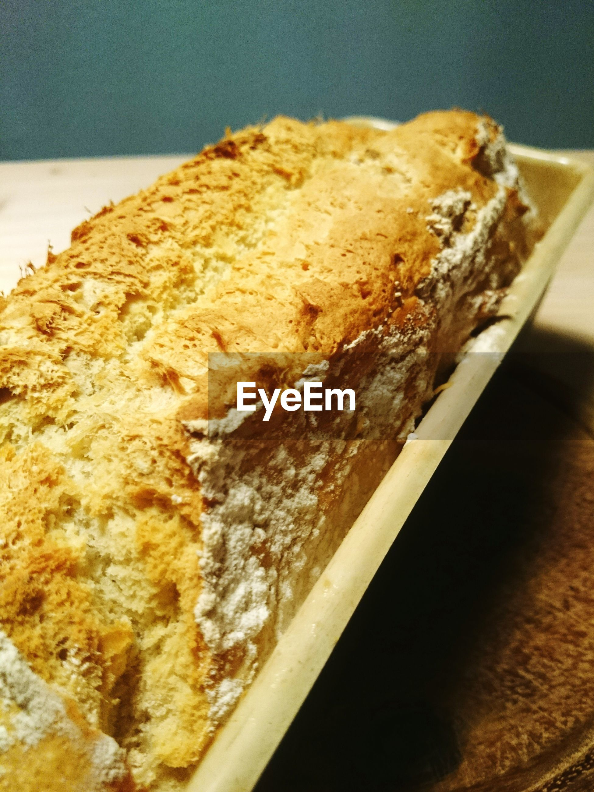 Close-up of fresh bread in tray