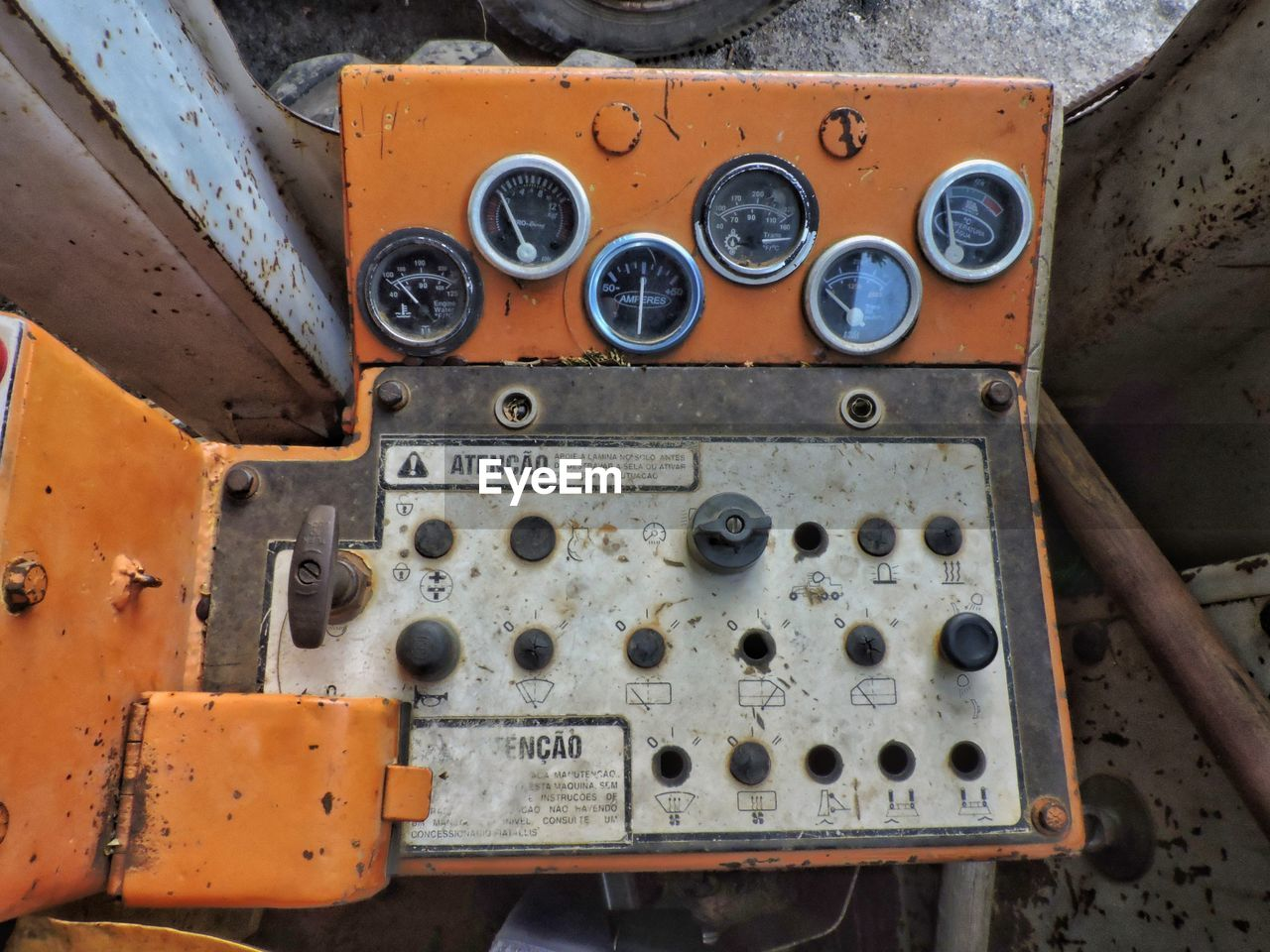 Directly above shot of machine control panel in factory