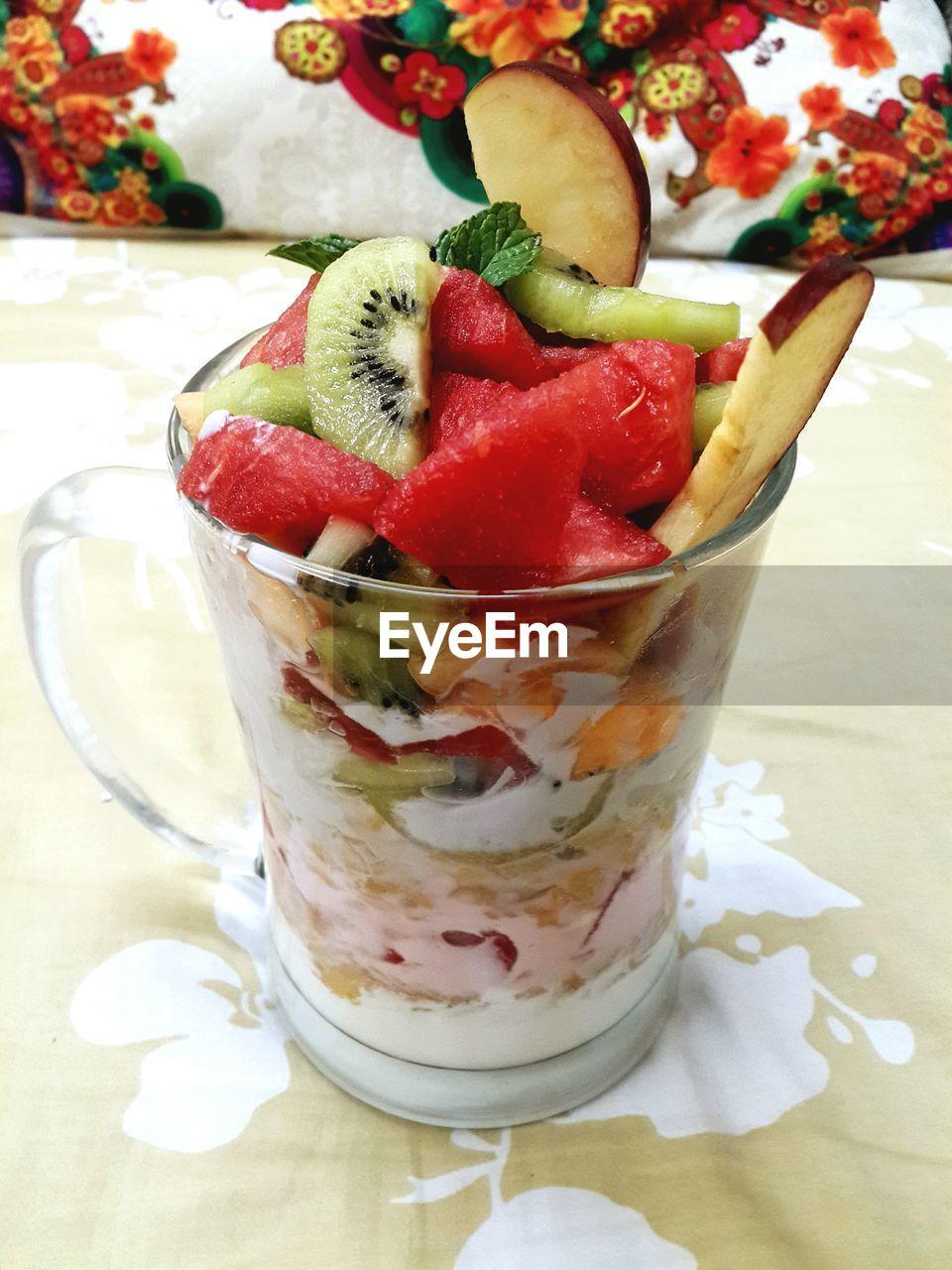 Fruit dessert in glass