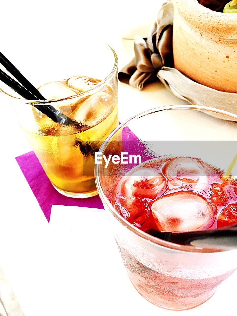 drink, drinking glass, refreshment, food and drink, freshness, drinking straw, ice cube, no people, alcohol, close-up, table, cocktail, cold temperature, ice tea, indoors, healthy eating, sweet food, food, white background, day, ready-to-eat