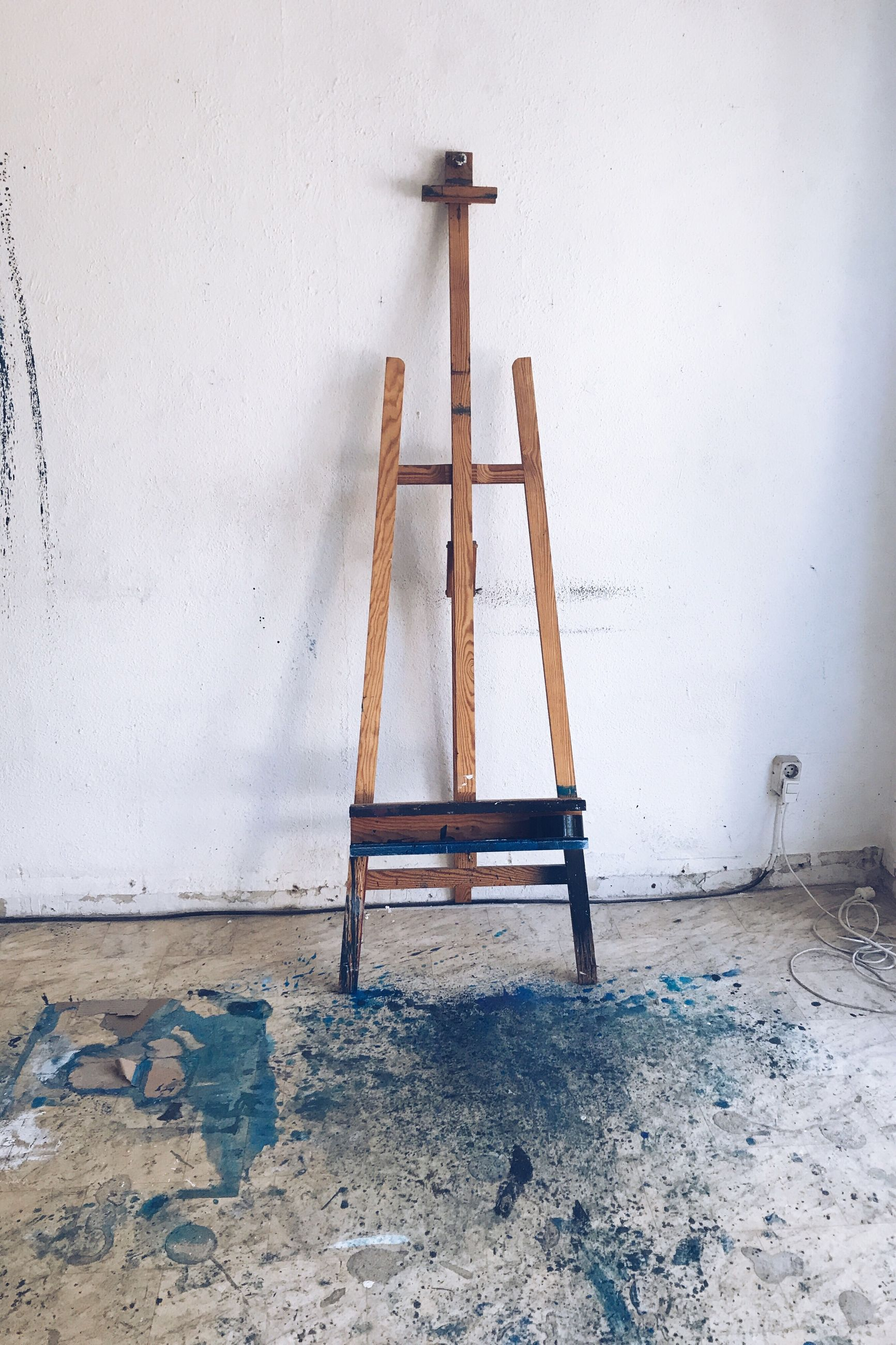wall - building feature, ladder, indoors, wood - material, no people, step ladder, architecture, built structure, seat, home interior, blue, home improvement, flooring, diy, empty, still life, absence, improvement, stool, day, change