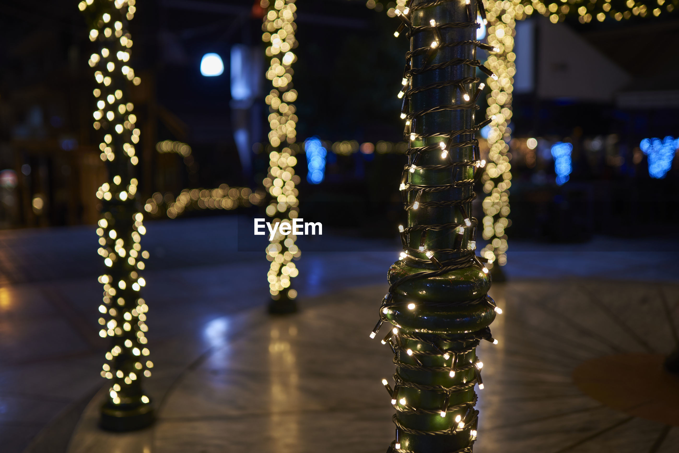 Christmas decorations in city at night