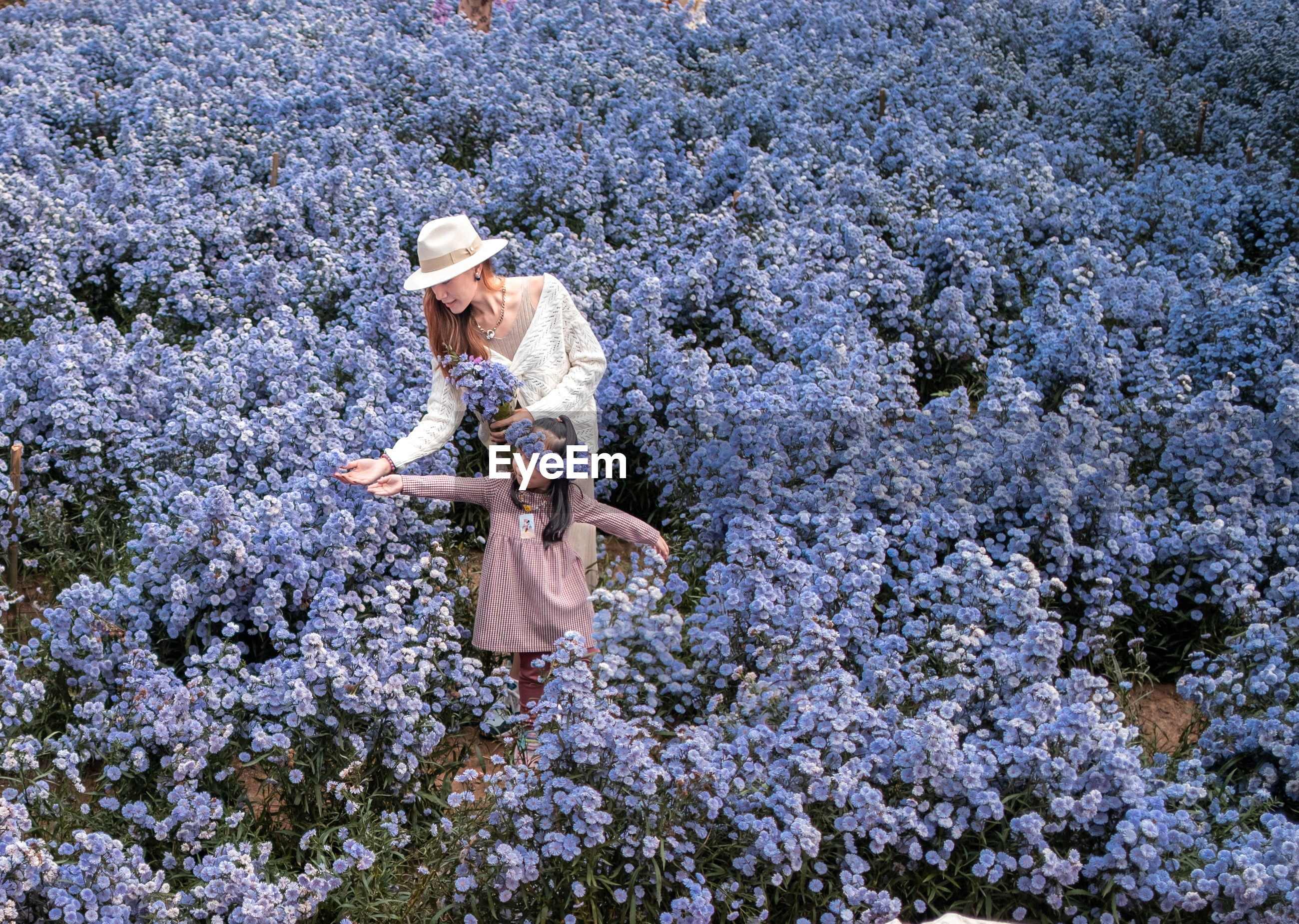 Full length of woman standing by flowering tree