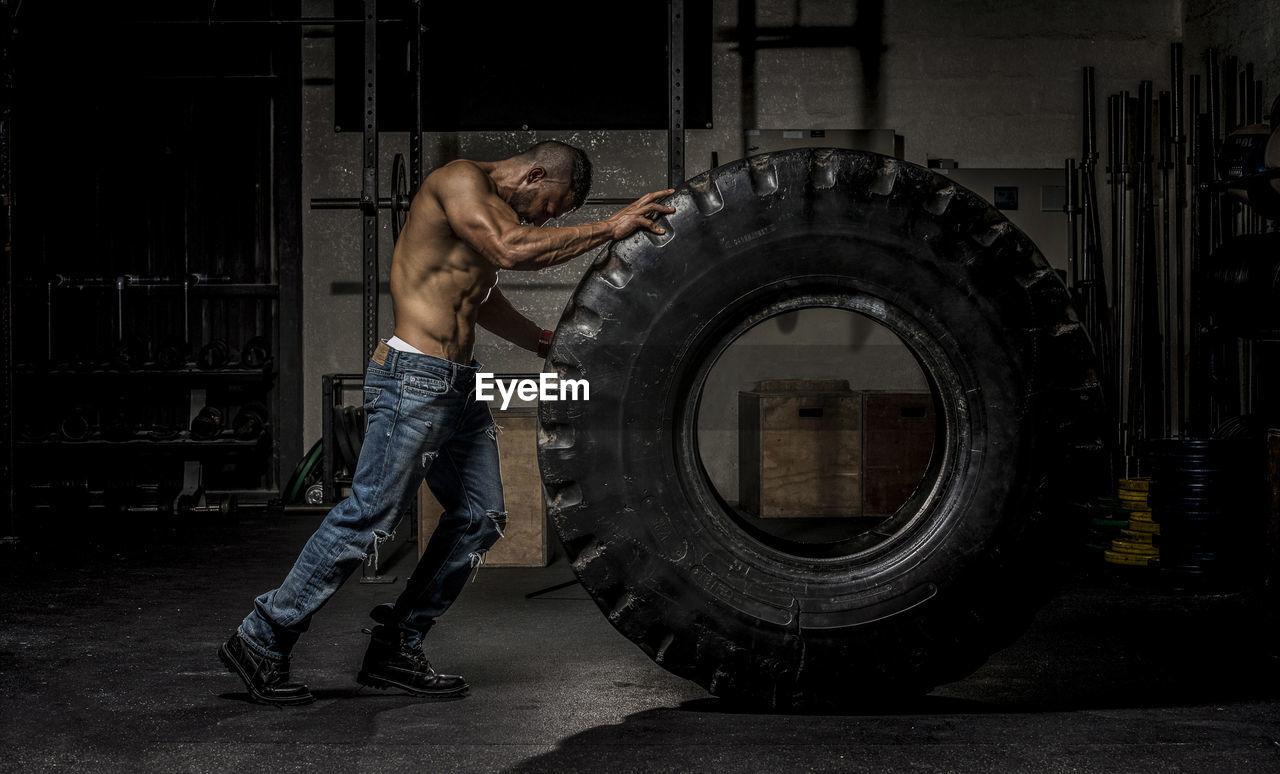 Full Length Of Body Builder