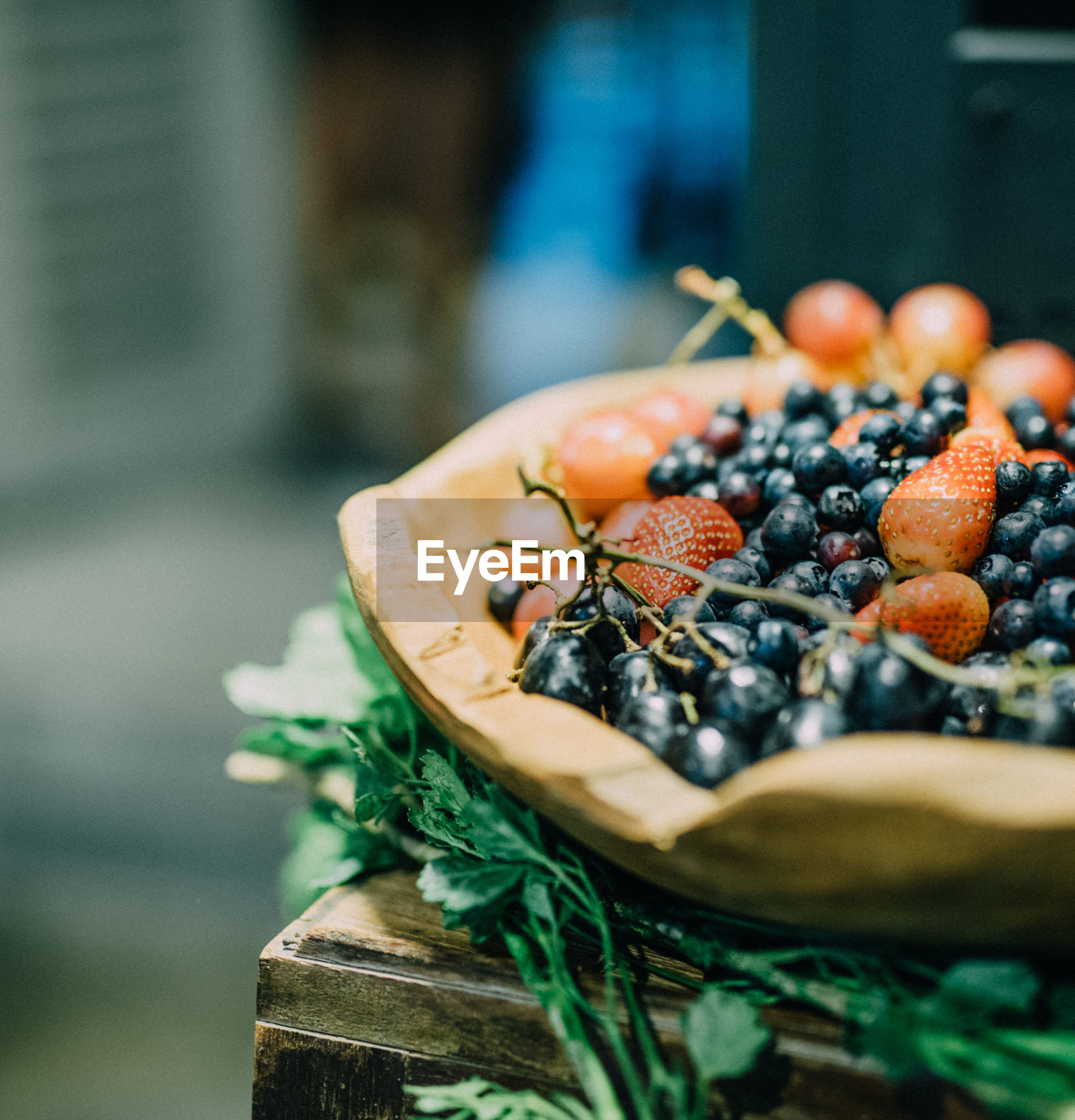 Close-up of berries in bowl on table
