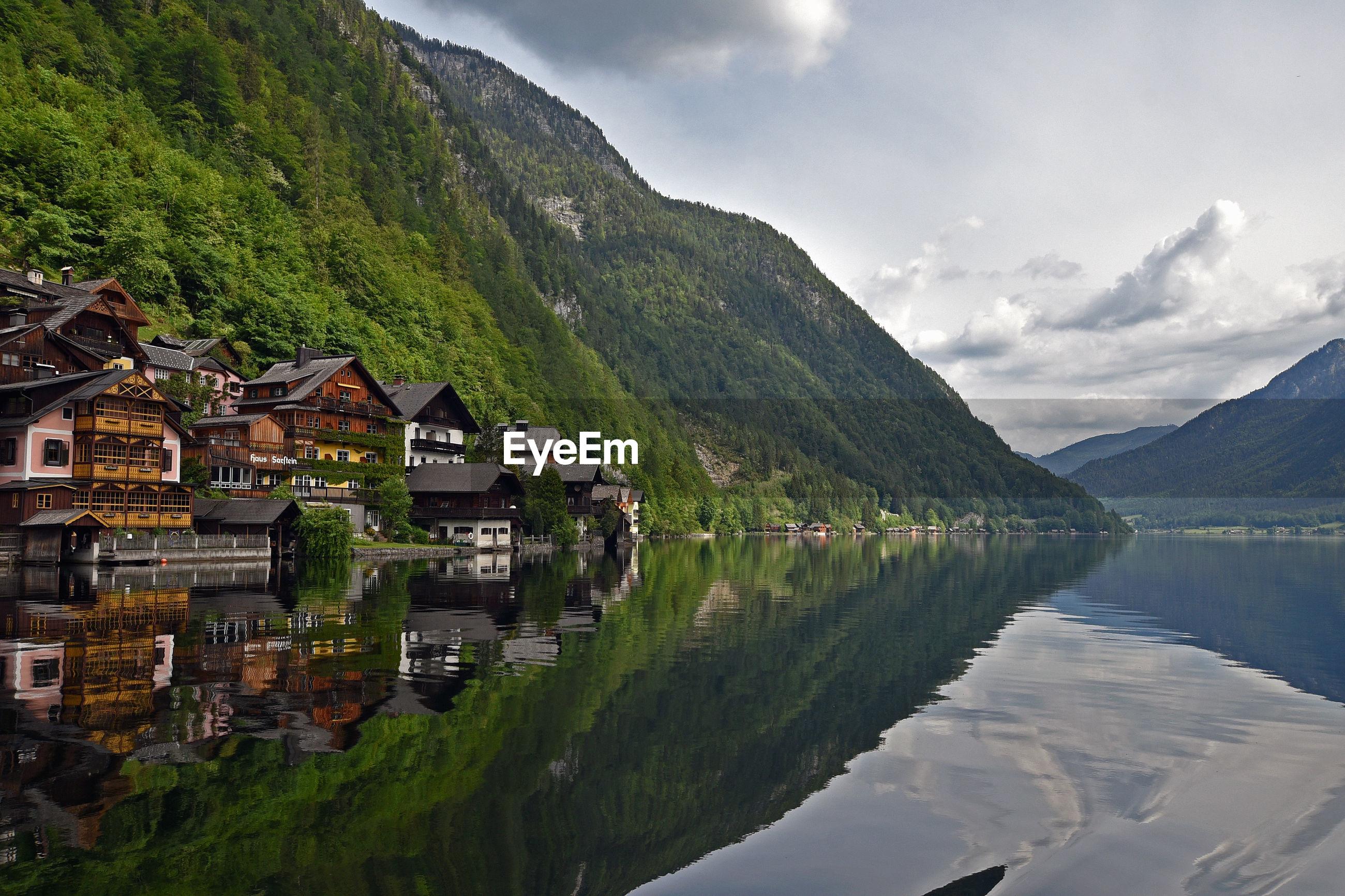 LAKE BY BUILDINGS AGAINST SKY