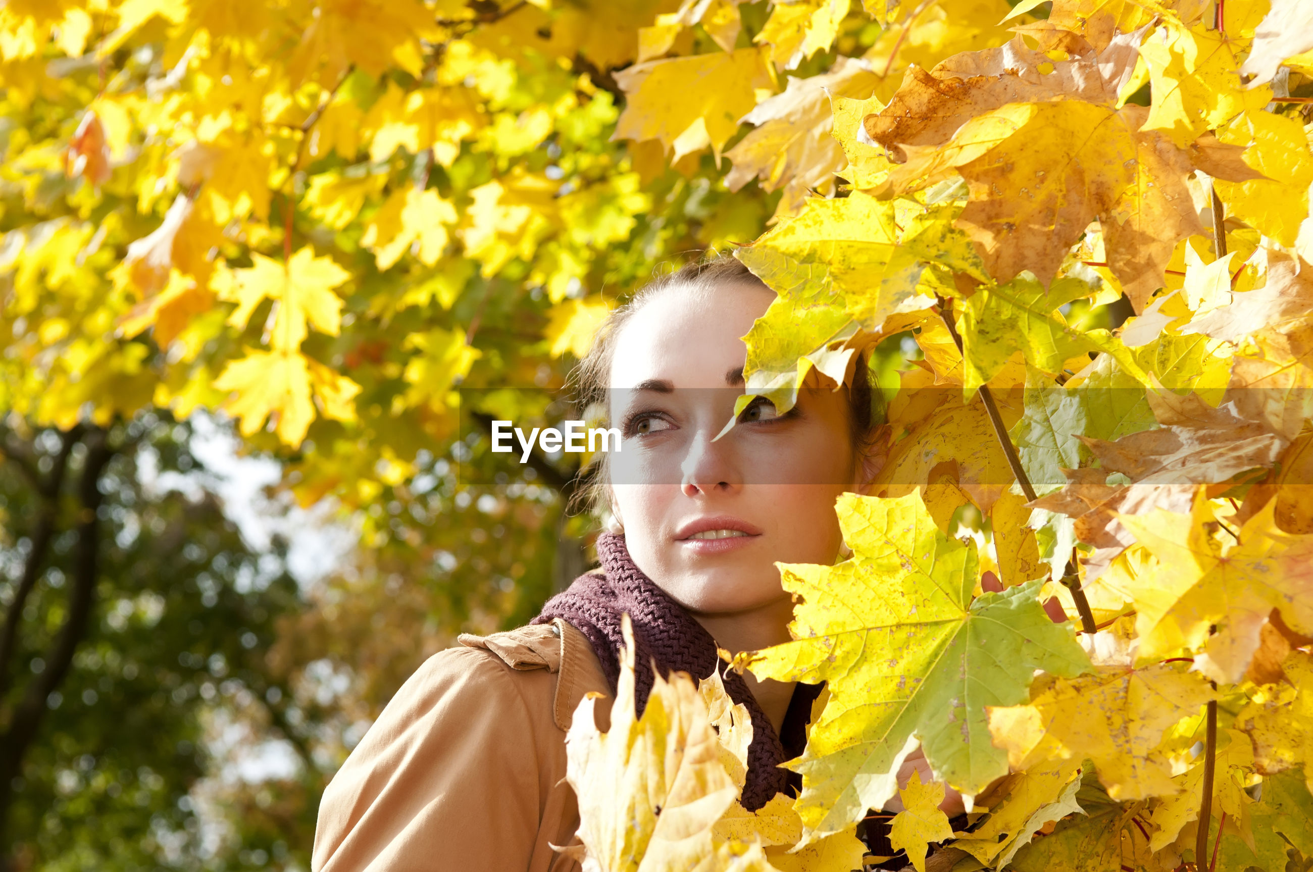 Thoughtful woman standing by trees in park during autumn