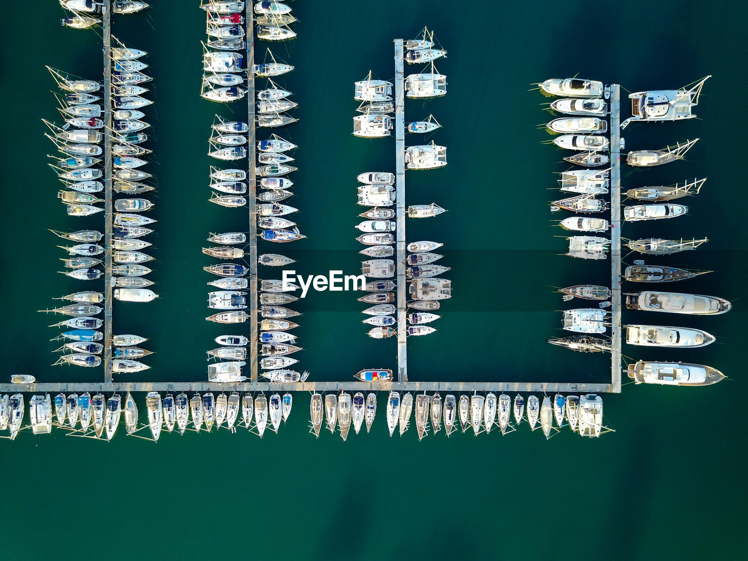 Aerial view of boats moored marina