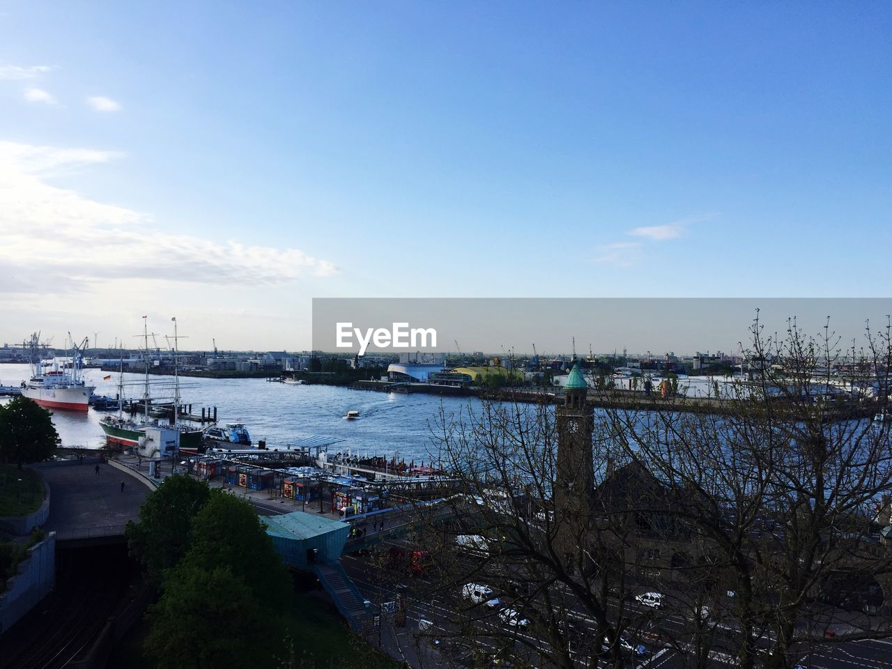 High angle view of harbor against sky