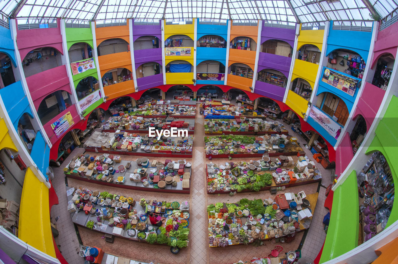 HIGH ANGLE VIEW OF MULTI COLORED COLORFUL BUILDING