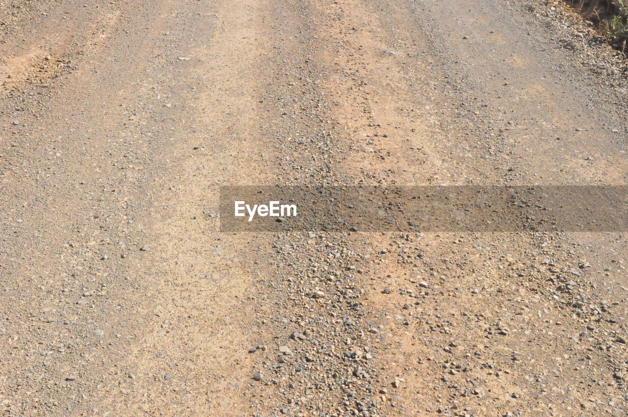 High angle view of dirt road