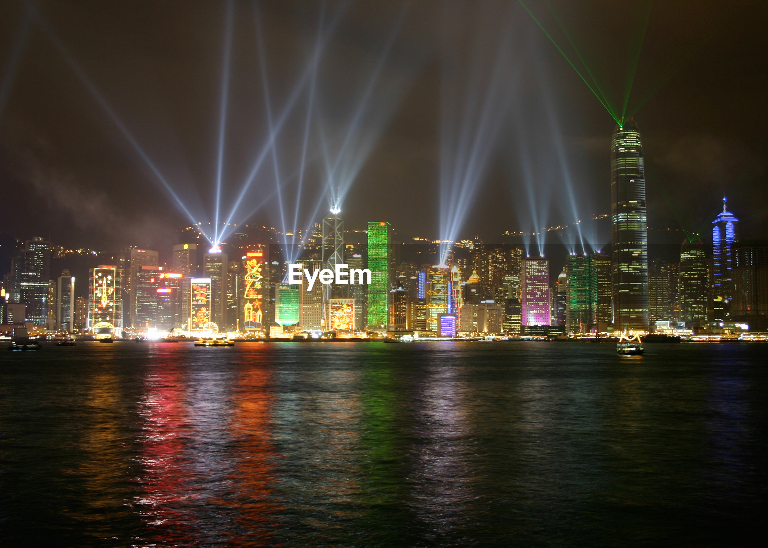 Laser light show on skyscrapers