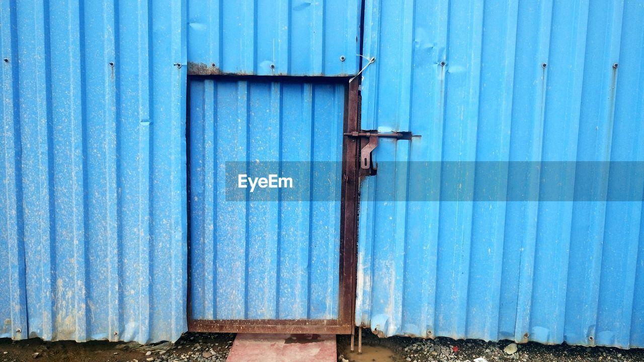 Corrugated Iron Door At Construction Site
