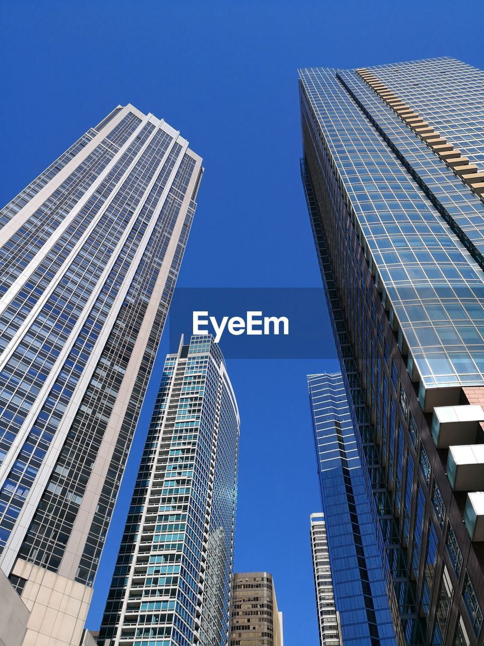architecture, built structure, building exterior, tall - high, sky, city, office building exterior, building, low angle view, skyscraper, modern, clear sky, tower, blue, office, nature, no people, day, glass - material, sunlight, financial district