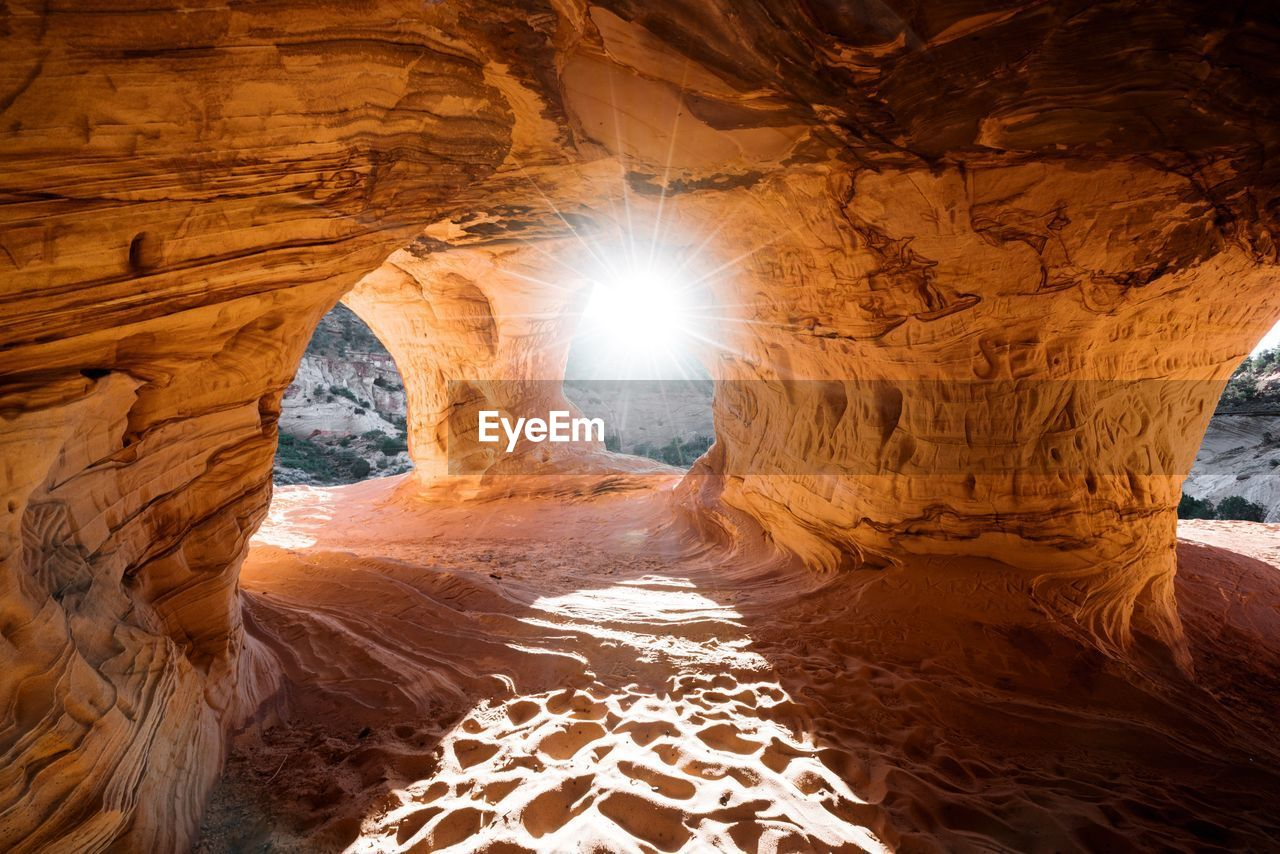 Sunlight Streaming Inside Cave