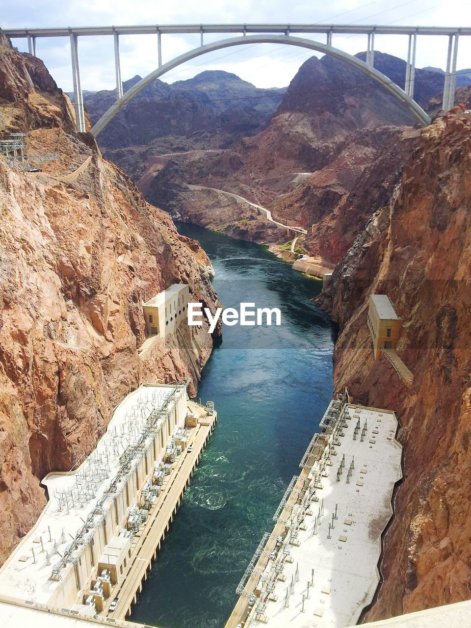 Overhead view of hoover dam