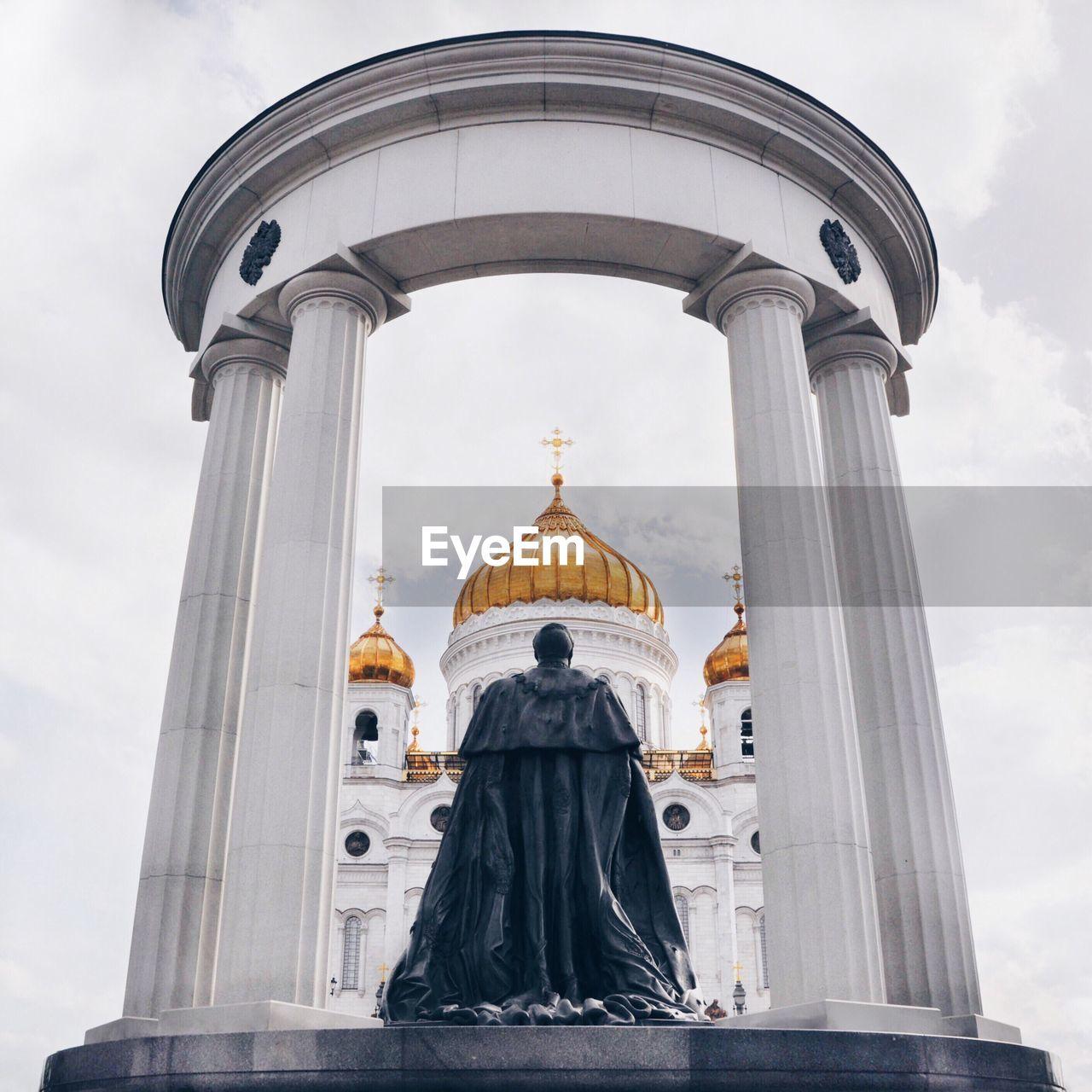 Czar Alexander Ii Statue Against Temple Of Christ The Savior