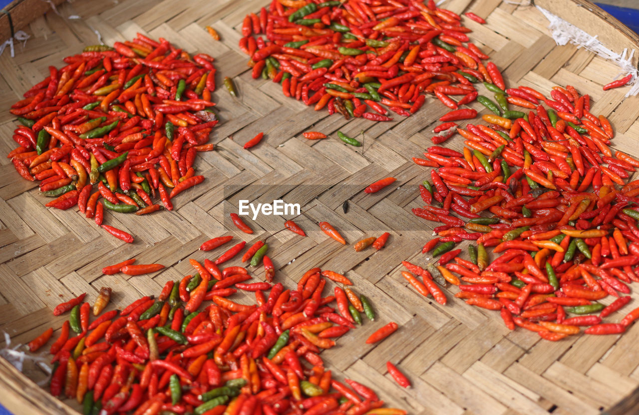 High Angle View Of Red Chili Peppers In Market