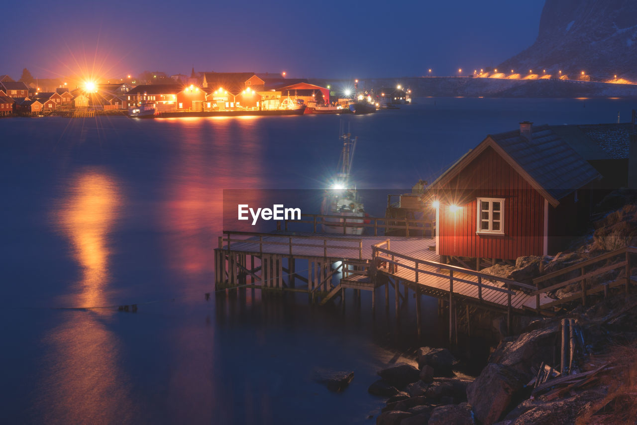 architecture, illuminated, built structure, water, building exterior, night, river, house, no people, outdoors, winter, sky, nature, nautical vessel