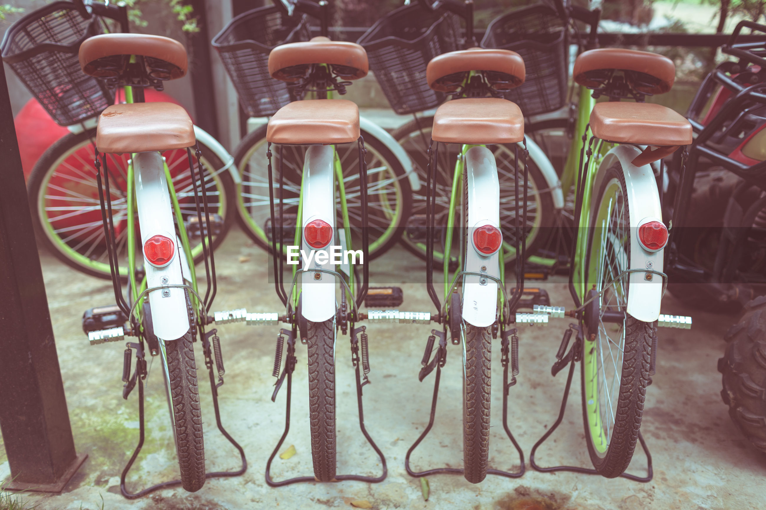 View of bicycles parked in row