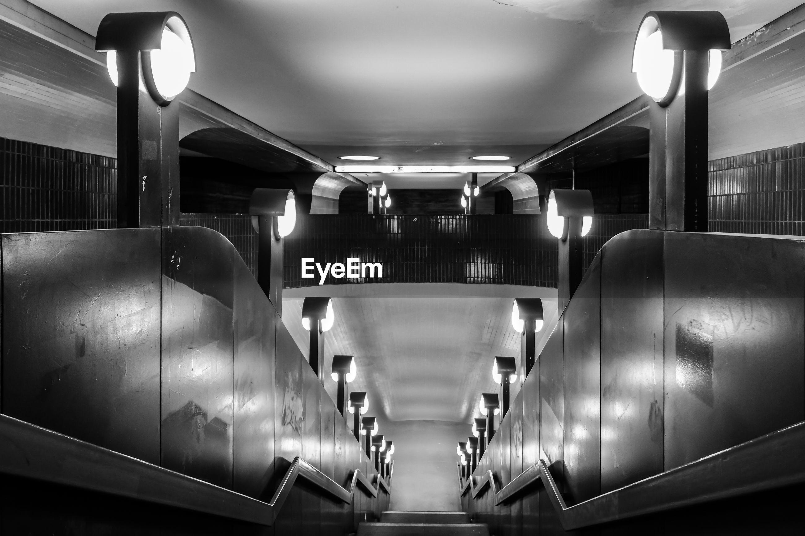High angle view of empty escalator at subway