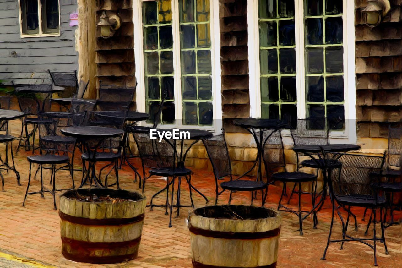 chair, table, window, restaurant, cafe, wood - material, no people, indoors, day, architecture