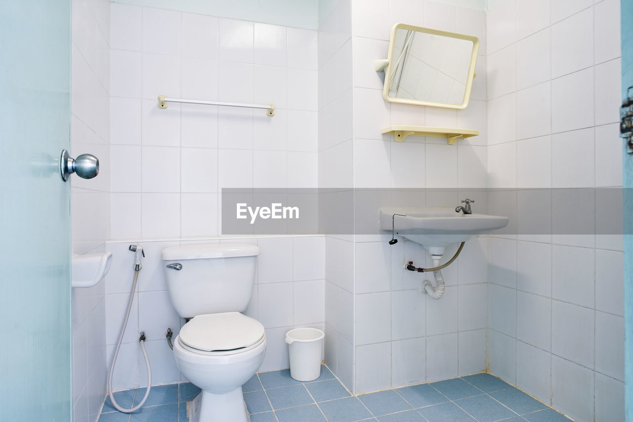 Interior of clean domestic bathroom