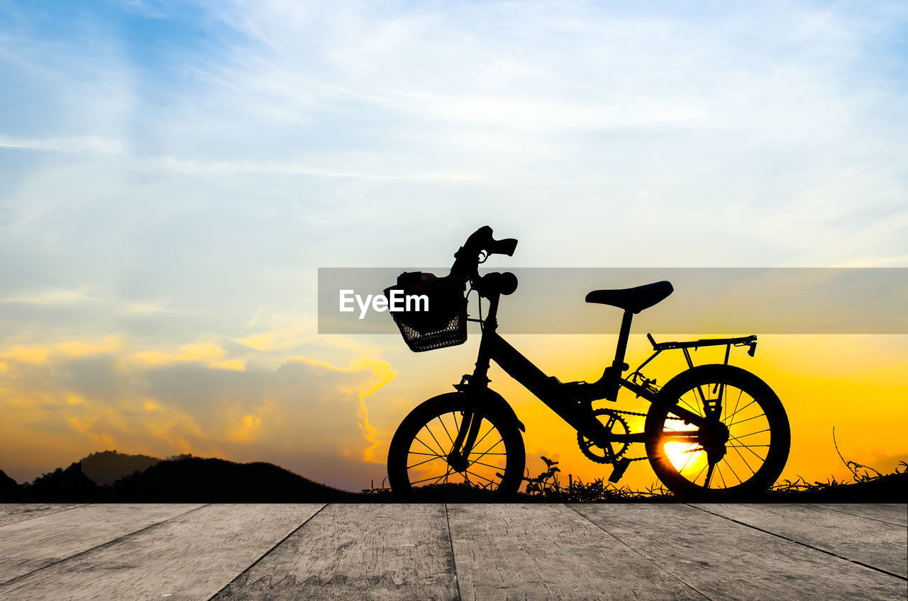 sunset, bicycle, sky, silhouette, cloud - sky, outdoors, transportation, nature, no people, day