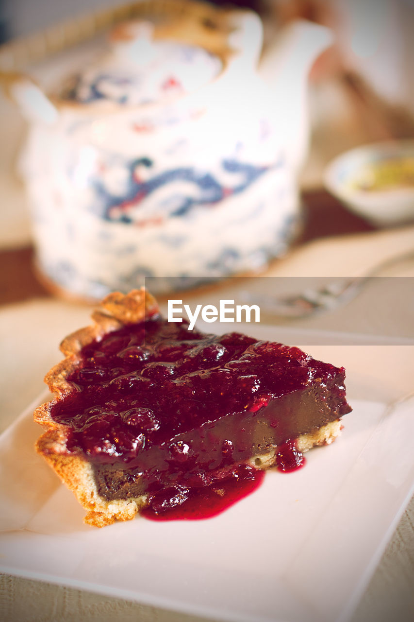 Close-Up Of Strawberry Tart On Table