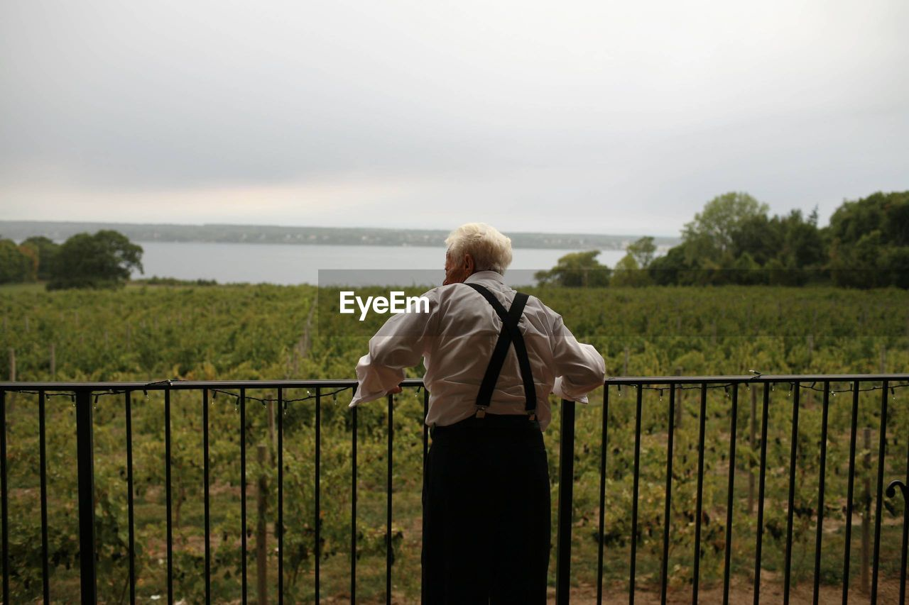rear view, standing, railing, one person, real people, sky, nature, leisure activity, scenics, outdoors, looking at view, men, day, lifestyles, sea, water, blond hair, beauty in nature, women, horizon over water, tree, people, adult, adults only