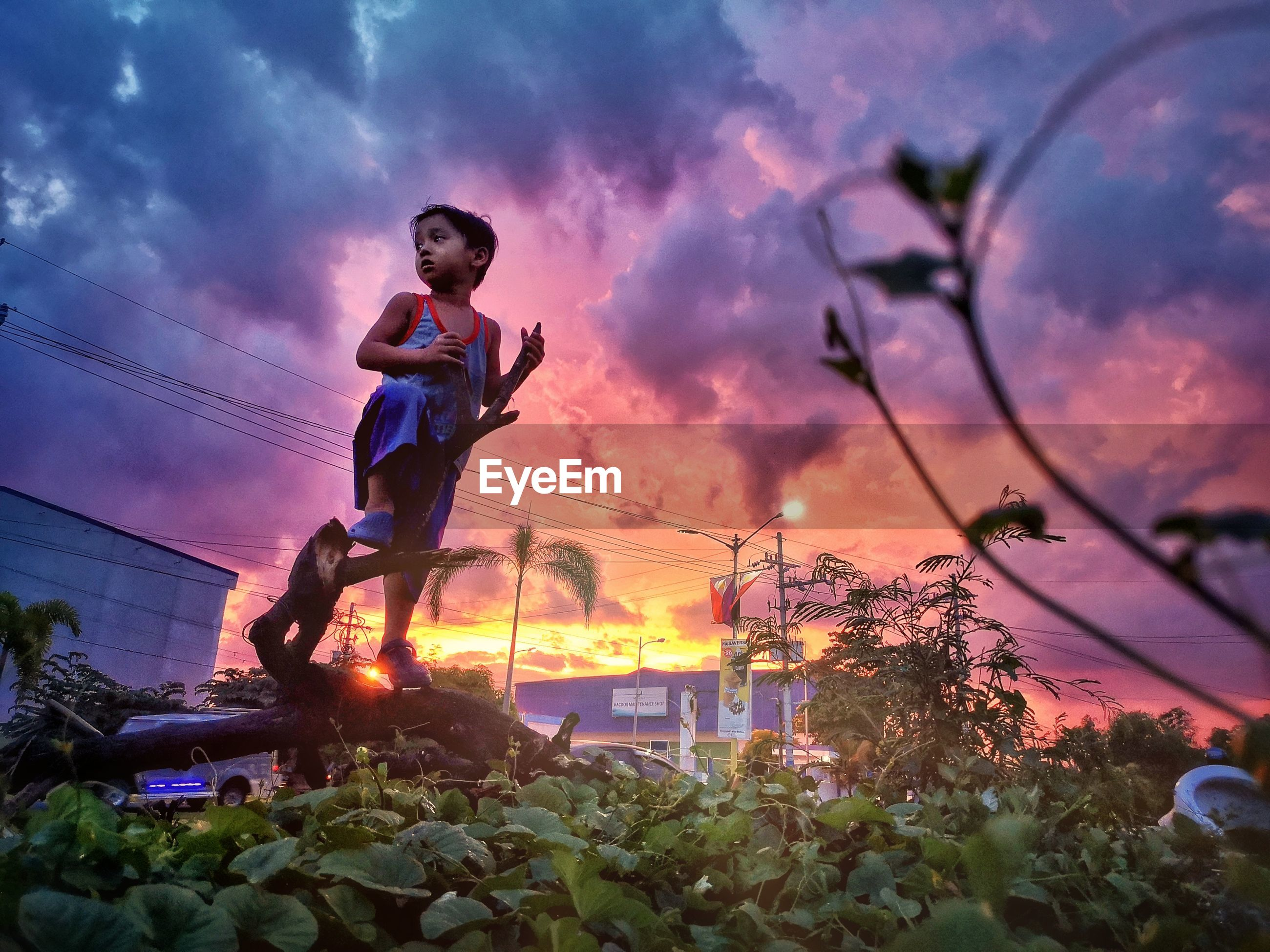 YOUNG MAN AGAINST PURPLE SKY