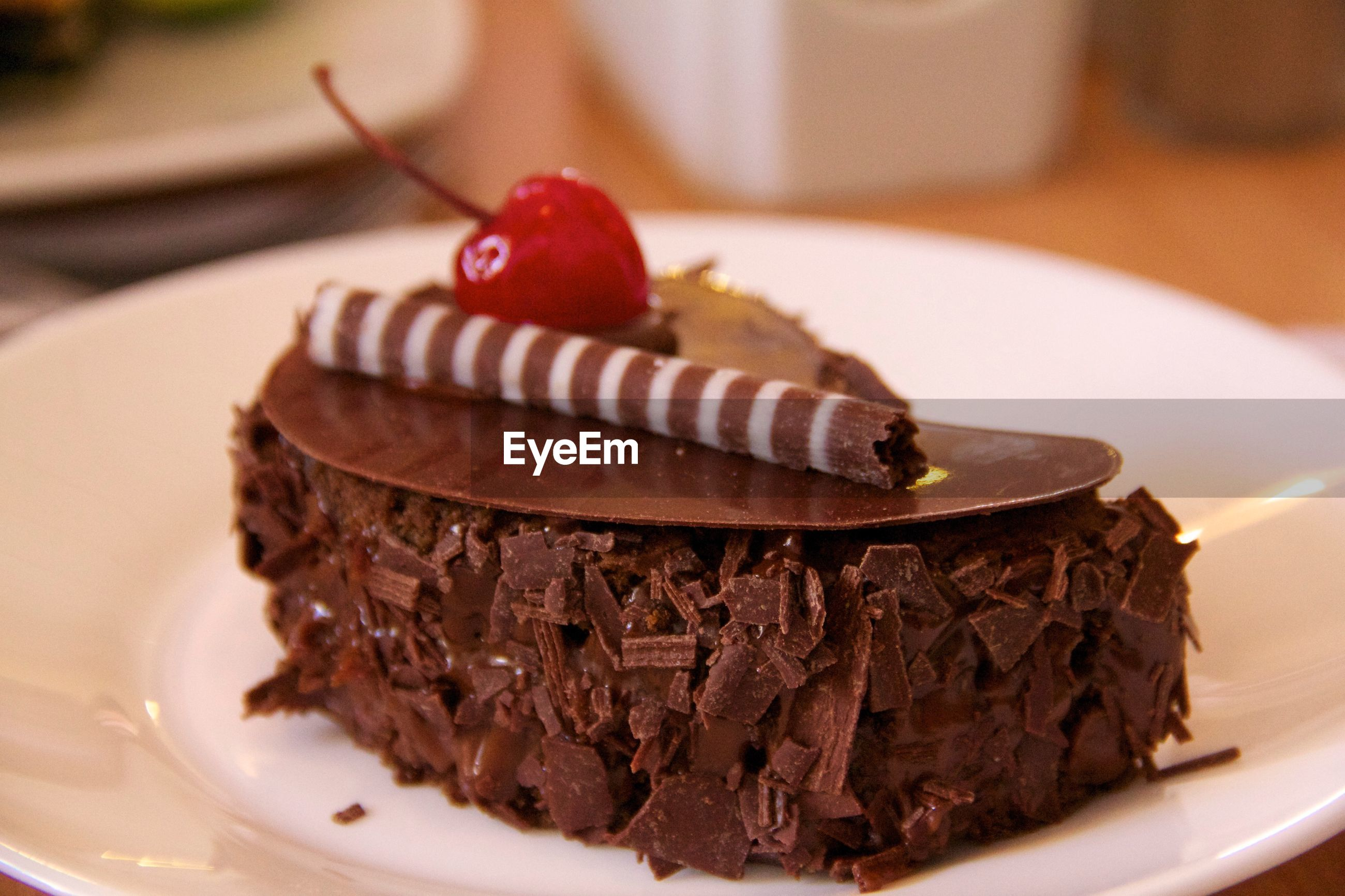 CLOSE-UP OF CHOCOLATE CAKE WITH SLICE IN PLATE