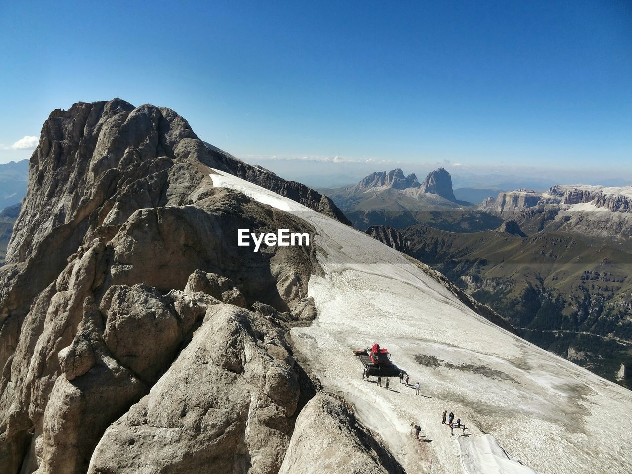 Scenic view of mt marmolada against clear sky