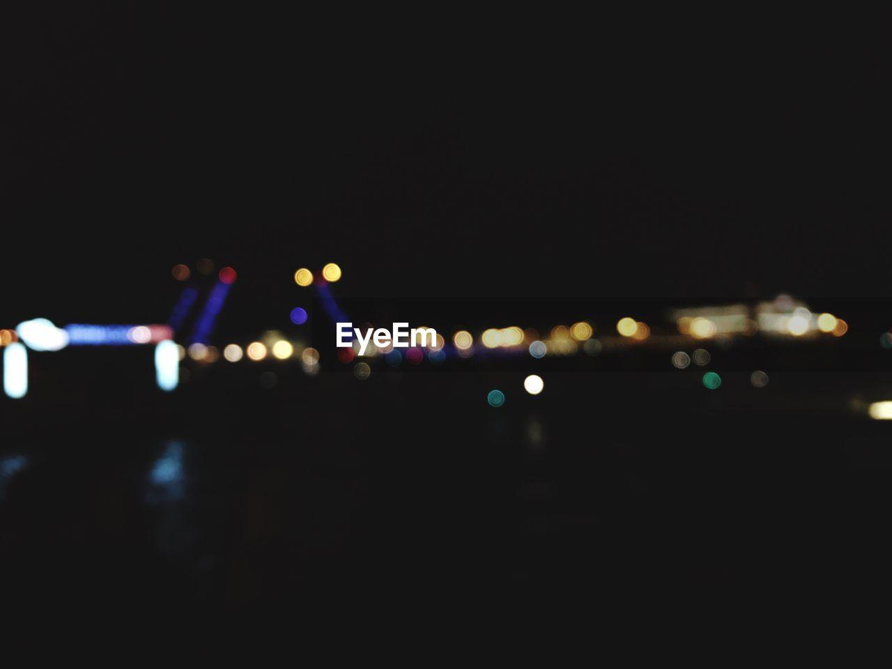 illuminated, night, defocused, outdoors, road, no people, sky, city, close-up