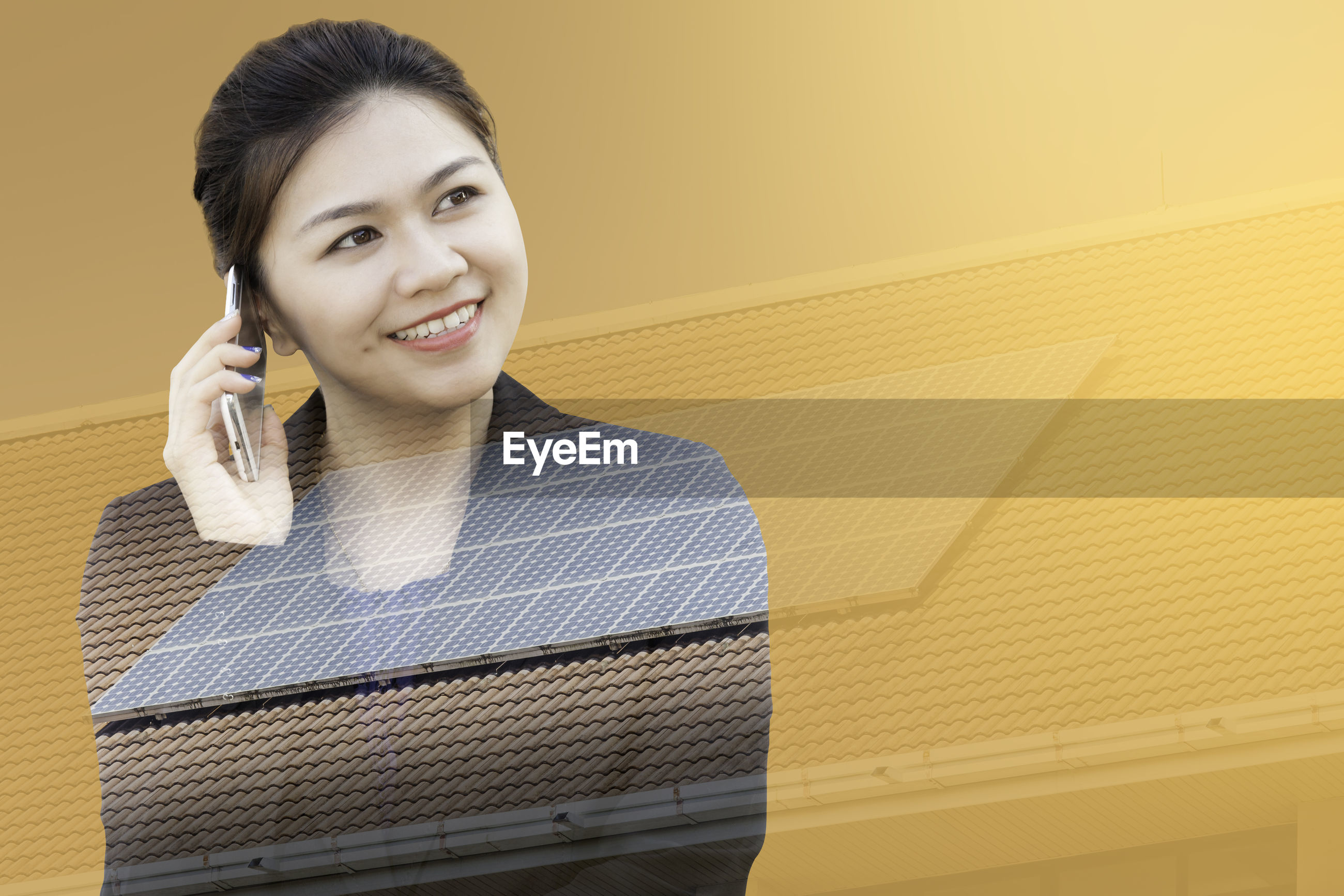 Digital composite image of woman talking on mobile phone and metal