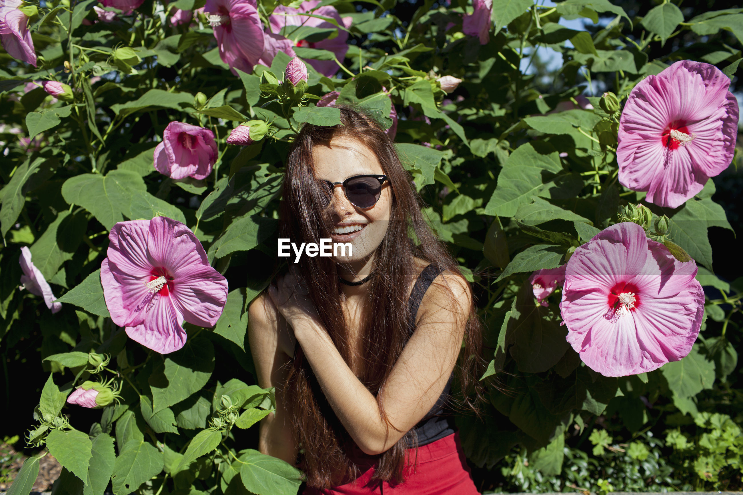 BEAUTIFUL WOMAN WITH PINK FLOWERS