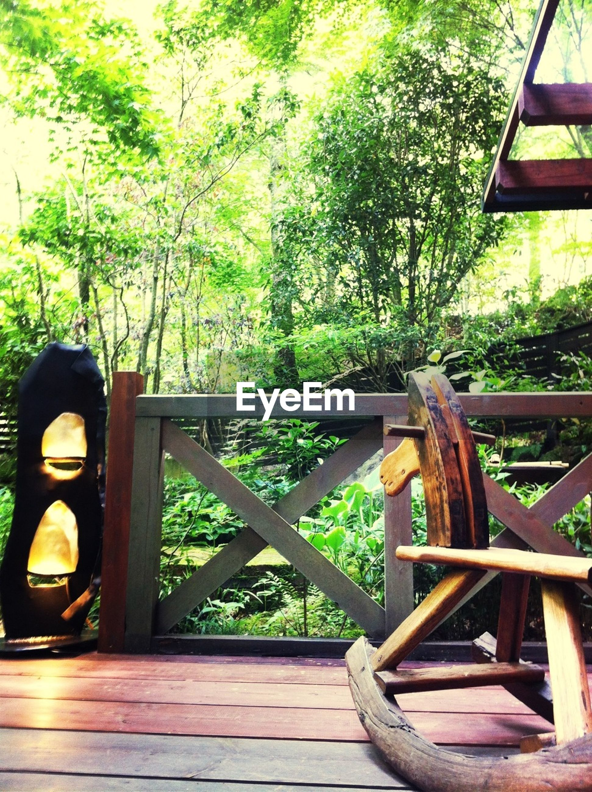 wood - material, wooden, tree, railing, wood, bench, growth, green color, plant, indoors, chair, sunlight, absence, table, relaxation, day, no people, empty, nature, metal