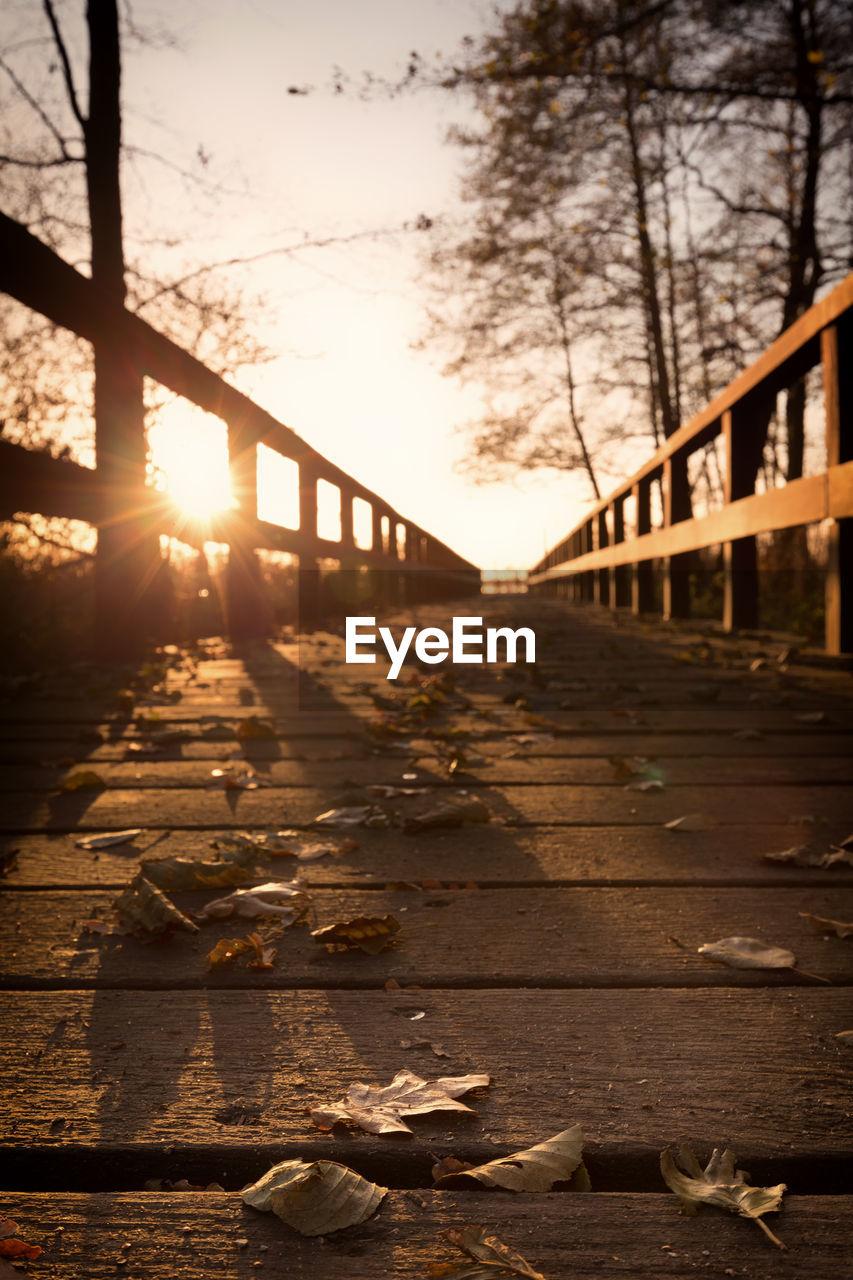 bridge - man made structure, sunset, railing, the way forward, sunlight, outdoors, sun, no people, connection, tree, footbridge, built structure, bridge, sky, nature, architecture, day, city