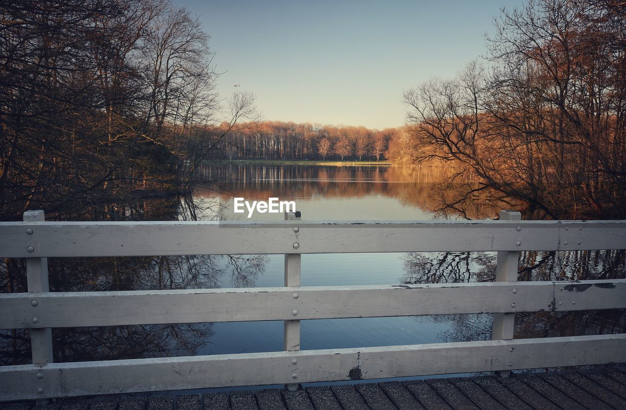 water, tree, tranquility, lake, tranquil scene, sky, plant, railing, reflection, nature, beauty in nature, scenics - nature, no people, day, bare tree, non-urban scene, outdoors, idyllic