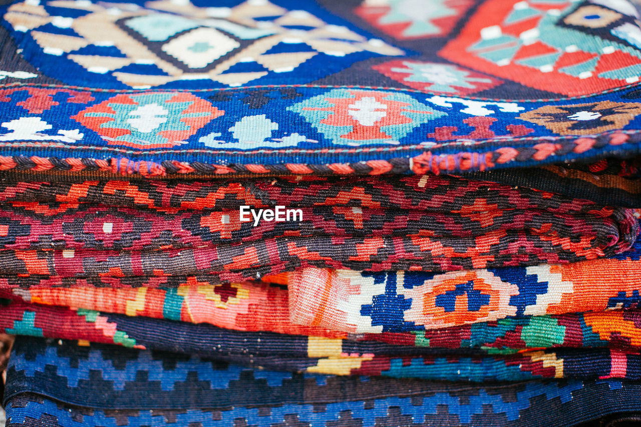backgrounds, full frame, textile, pattern, no people, close-up, multi colored, day, indoors