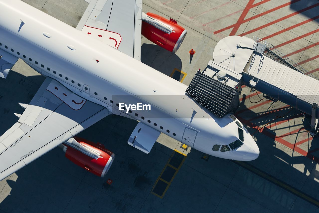 Aerial view of airport. preparation of airplane before departure.