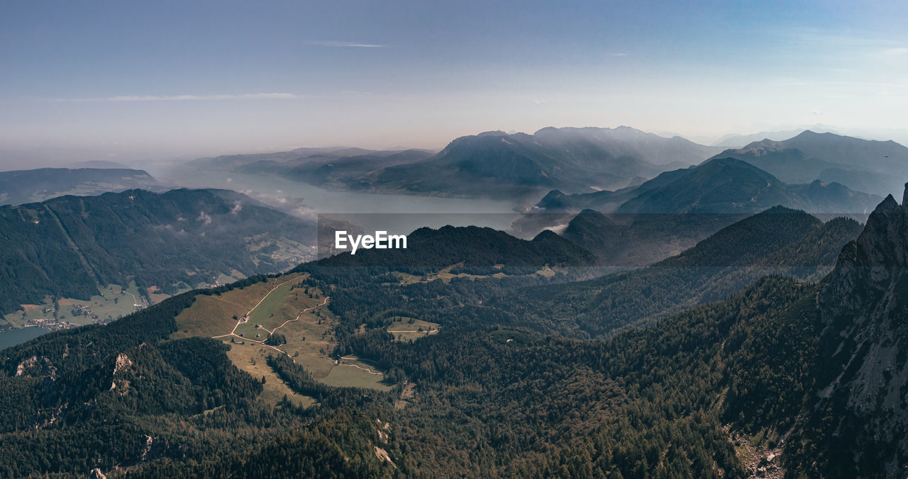 Phenomenal views from mount schafberg to lake attersee and its adjacent mountains.