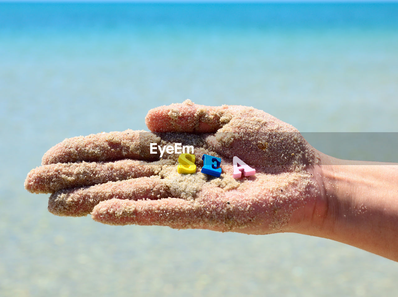 Cropped Dirty Hands Holding Letters Sea