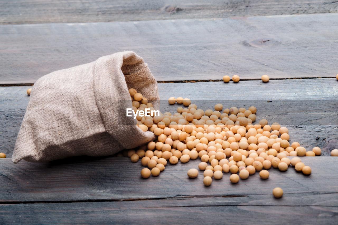 Fresh Soybeans In Canvas Bag