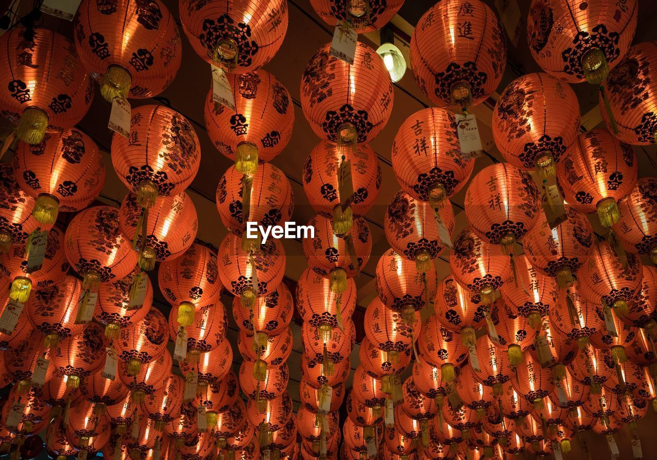 lighting equipment, illuminated, hanging, celebration, decoration, lantern, low angle view, chinese lantern, large group of objects, no people, abundance, event, repetition, full frame, traditional festival, chinese new year, orange color, chinese lantern festival, festival, ceiling, light, paper lantern