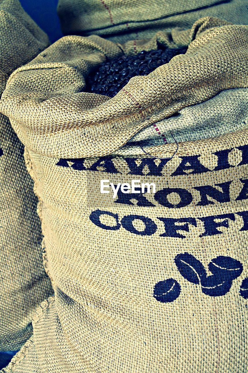 Close-up of sack with coffee bean