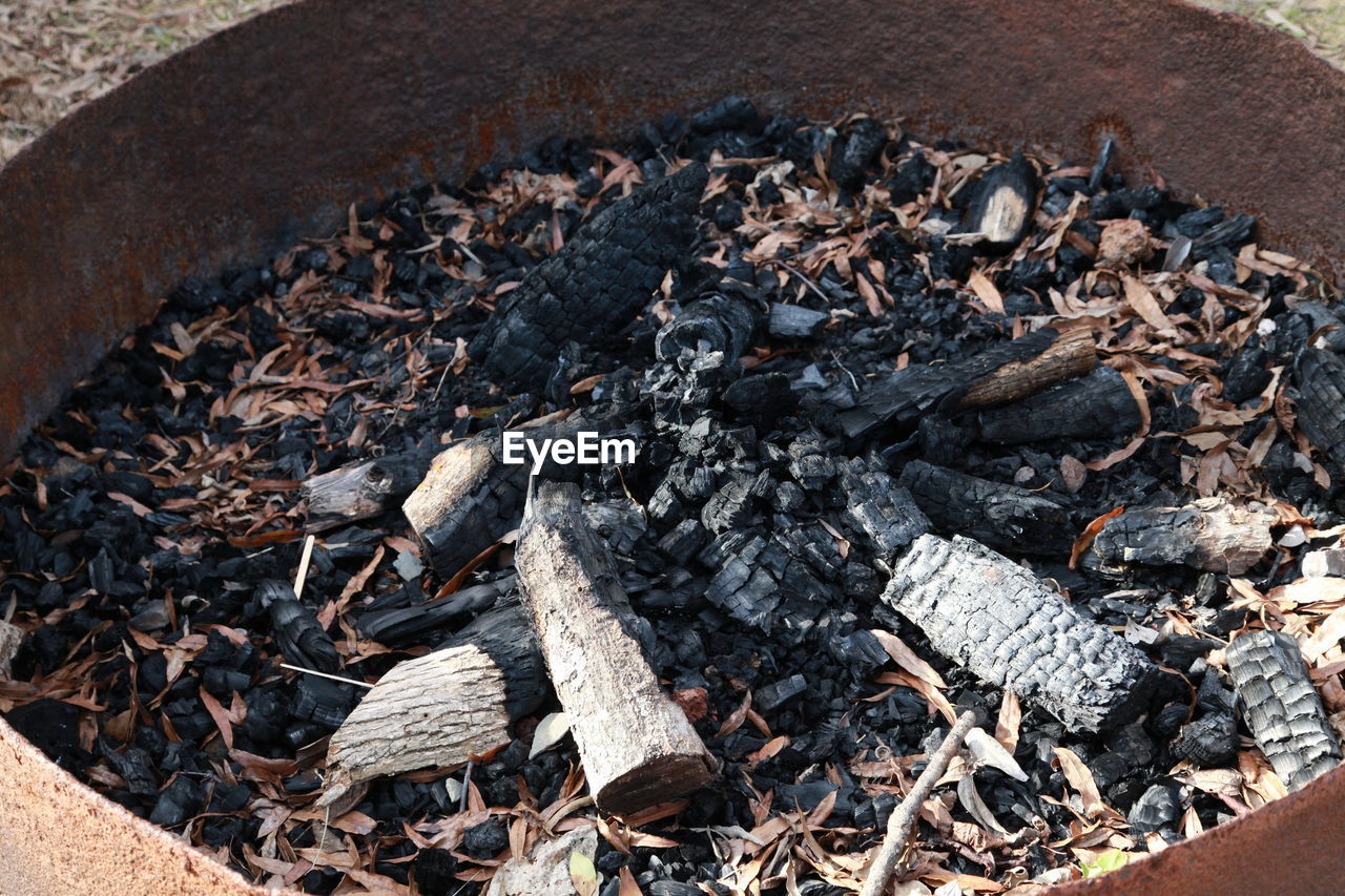 burning, fire, fire - natural phenomenon, nature, coal, day, no people, log, high angle view, heap, heat - temperature, large group of objects, flame, wood, wood - material, firewood, burnt, close-up, abundance, black color, bonfire, campfire