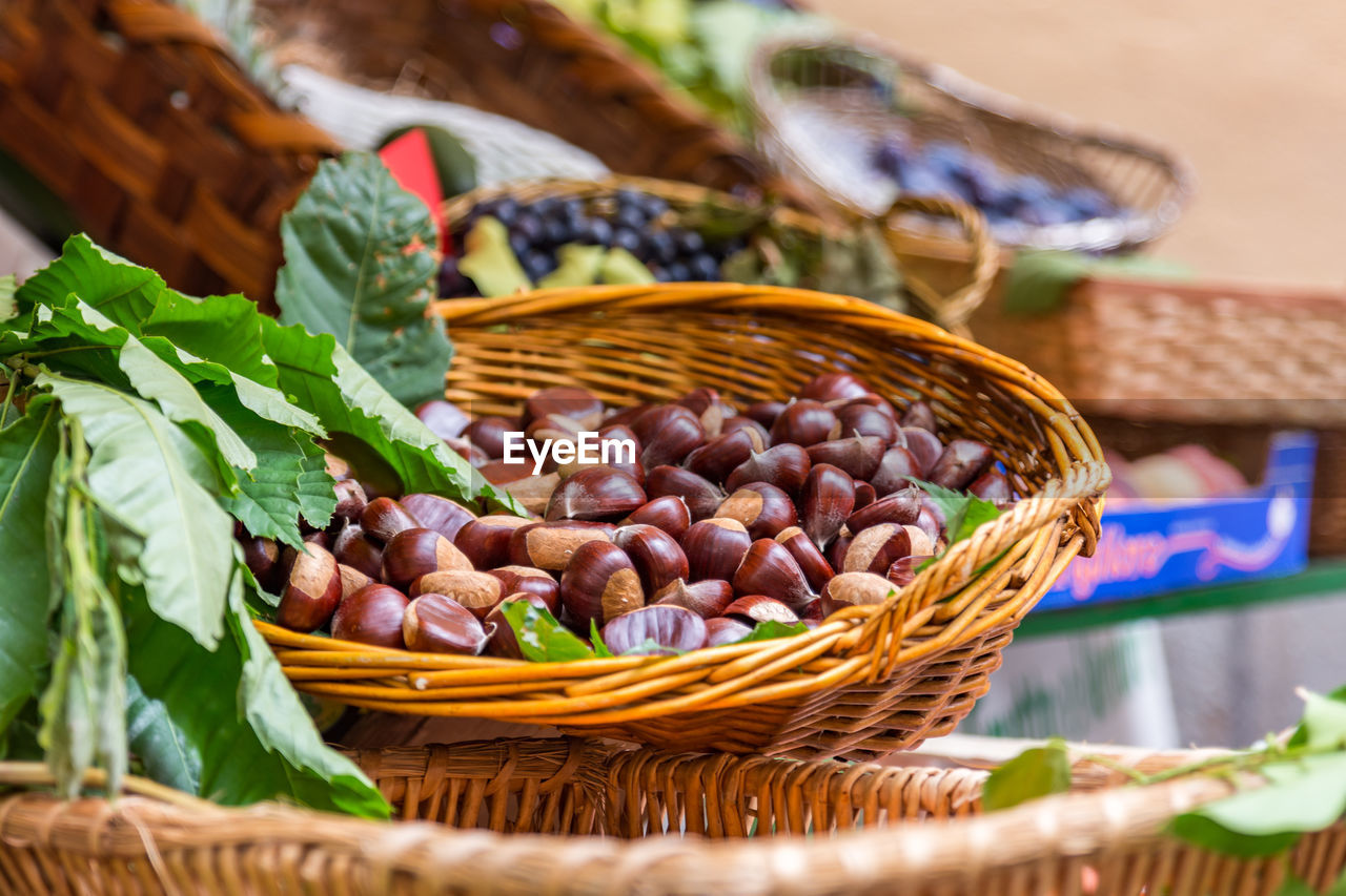 Chestnuts In Basket For Sale At Market